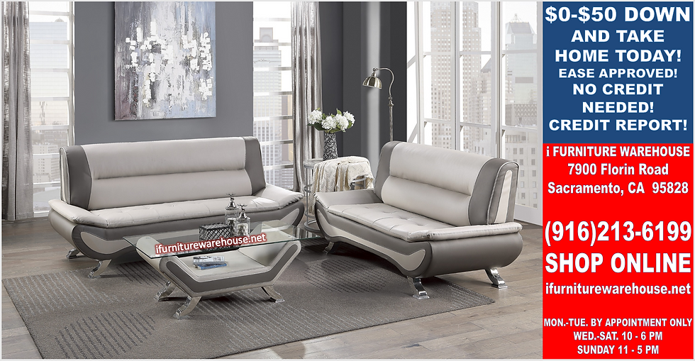 IN STOCK NEW_2PCS GRAY/BEIGE CONTEMPORARY SOFA, LOVESEAT/ TWO TONE.
