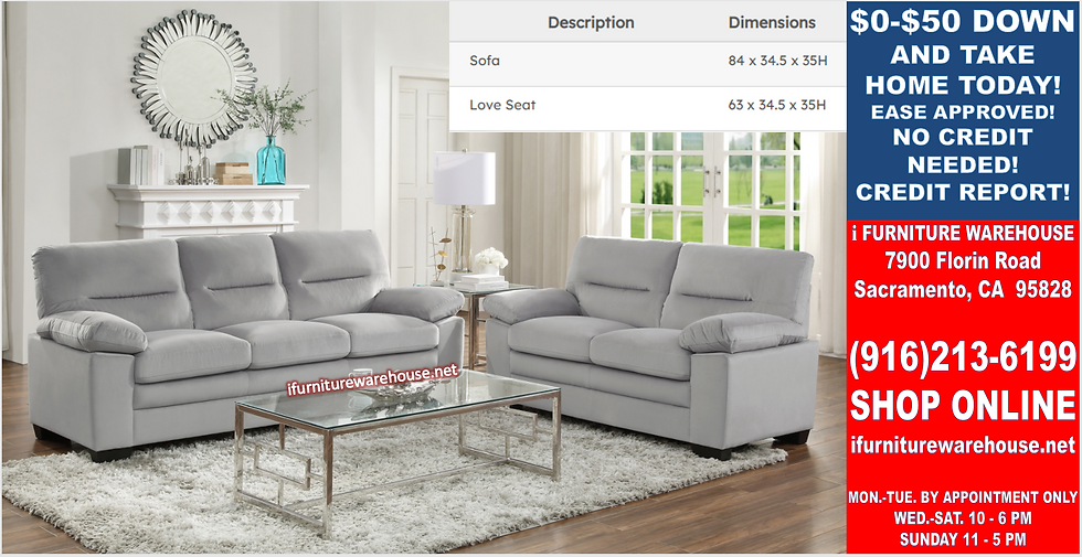 IN STOCK NEW_2PCS GRAY 100% POLYESTER SOFA AND LOVESEAT.