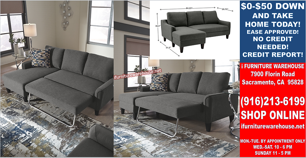 IN STOCK_NEW GRAY 2-Piece Sectional with Pull-out Bed Sofa Chaise