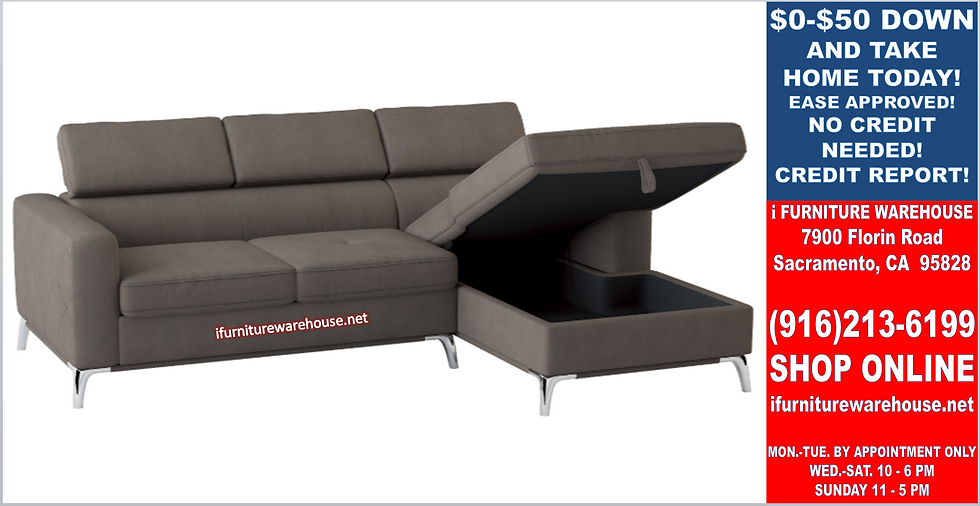 IN STOCK NEW_2PCS TAUPE RIGHT SIDE STORAGE CHAISE FABRIC SECTIONAL SOFA.