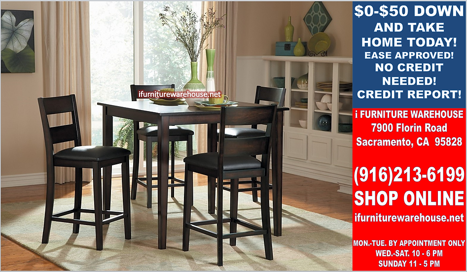 In Stock New_40x40 Square Counter Height Dining Table and 4 Chairs