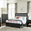 Thumbnail: IN STOCK 4PCS ESPRESSO FINISH FABRIC UPHOL. QUEEN BED,DRESSER,MIRROR,NIGHTSTAND.