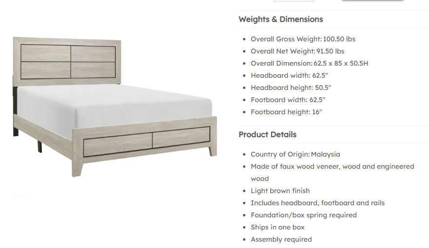 IN STOCK NEW_MODERN CONTEMPORARY QUEEN BED ONLY/  BOX SPRING REQUIRED.