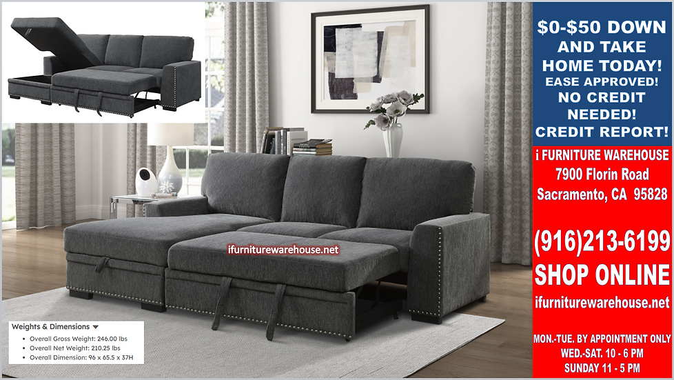 IN STOCK NEW_2PCS CHARCOAL CHENILLE LSF SECTIONAL SOFA SLEEPER PULL-OUT