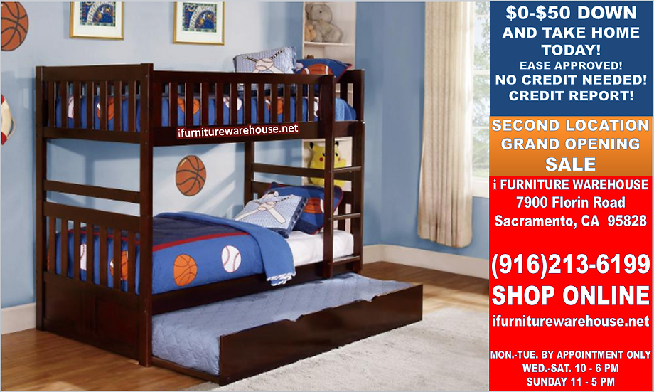 IN STOCK NEW_TWIN/TWIN BUNK BED WITH TRUNDLE IN CHERRY FINISH