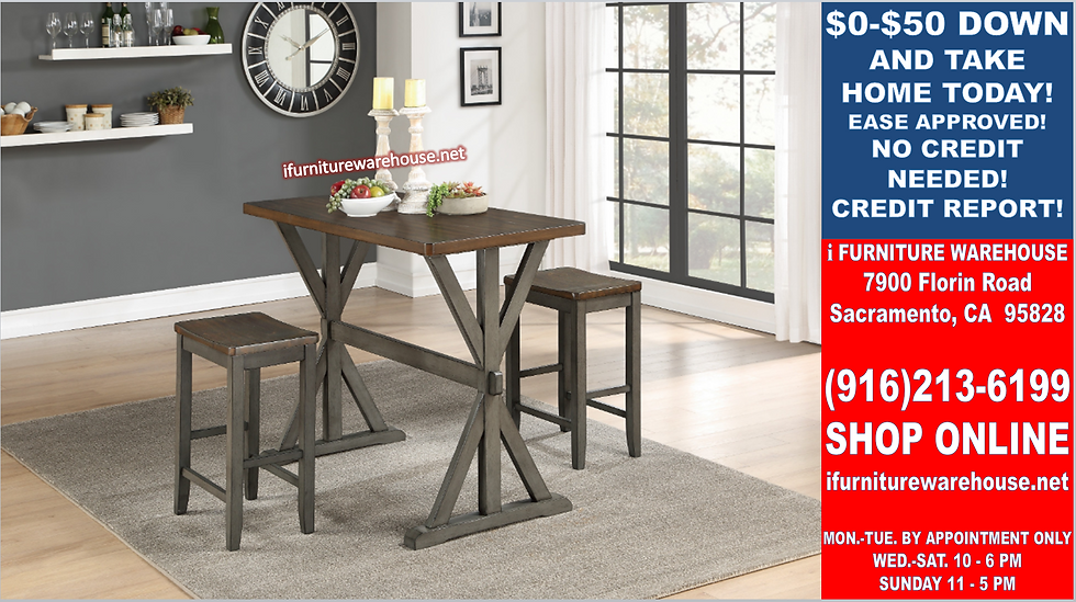 IN STOCK NEW_3PCS SOLID WOOD DINING TABLE AND 2 WOOD CHAIRS STOOLS
