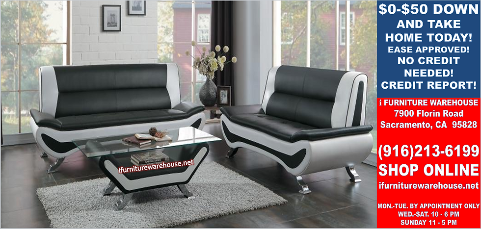 IN STOCK NEW_2PCS BLACK/WHITE CONTEMPORARY SOFA, LOVESEAT/ TWO TONE.