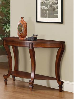 IN STOCK TRANSITIONAL STYLE SOFA TABLE DECORATIVE WOOD INLAY TABLE TOP