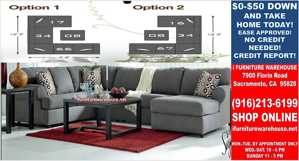 IN STOCK NEW_3PCS STEEL STATIONARY SOFA SECTIONAL W/RAF CHAISE/PILLOWS