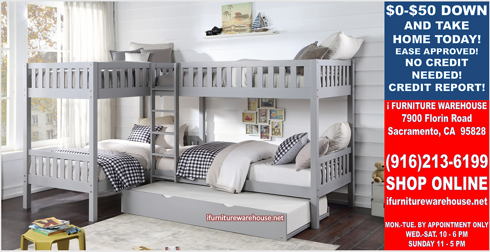IN STOCK NEW_5 TWIN BED, GRAY CORNER BUNK BED W/TRUNDLE INCLUDED.