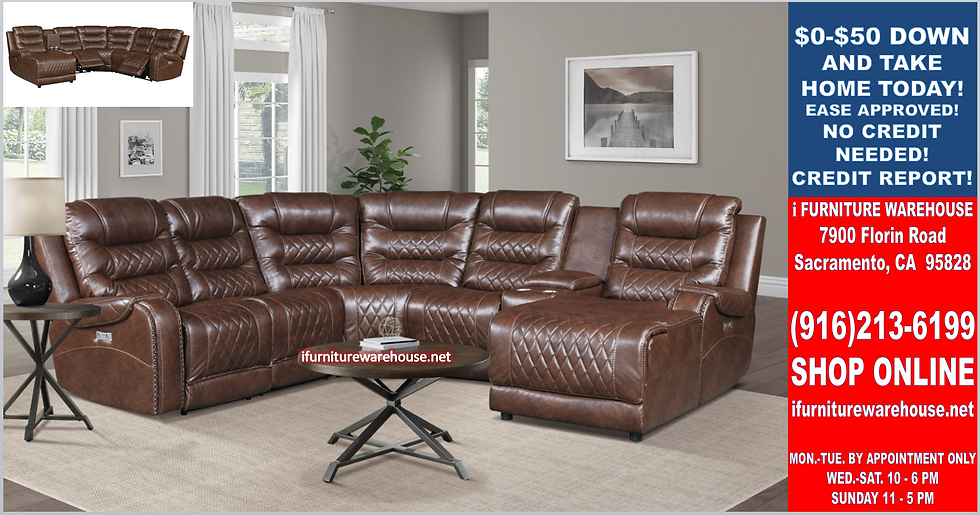 IN STOCK NEW_6-PIECES USB RAF CHAISE POWER POLISH MICROFIBER RECLINING SECTIONAL