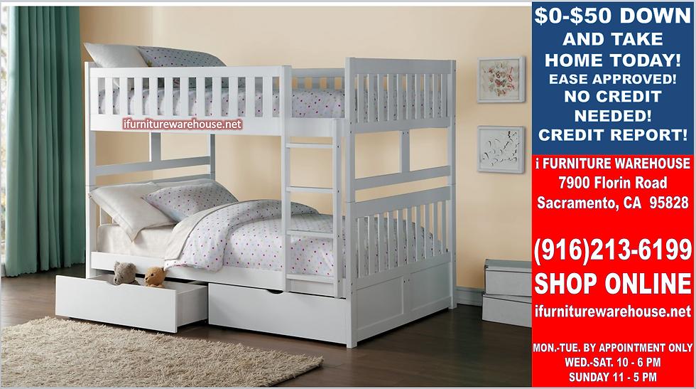IN STOCK NEW_FULL BED/ WHITE FULL/FULL BUNK BED ONLY.