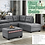 Thumbnail: IN STOCK NEW_2PCS. DARK GRAY CUP HOLDER REVERSIBLE CHAISE SECTIONAL SOFA.