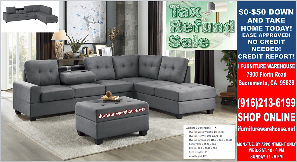 IN STOCK NEW_2PCS. DARK GRAY CUP HOLDER REVERSIBLE CHAISE SECTIONAL SOFA.