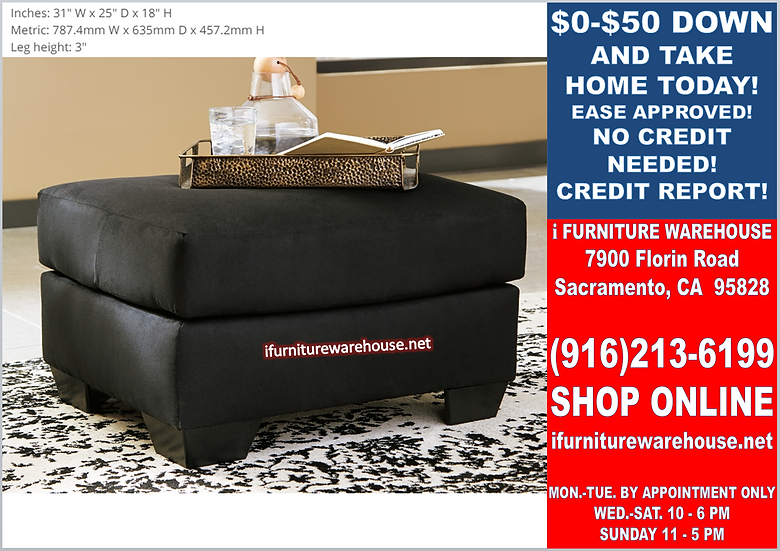 IN STOCK NEW_SMALL BLACK OTTOMAN WITH MICROFIBER FABRIC.