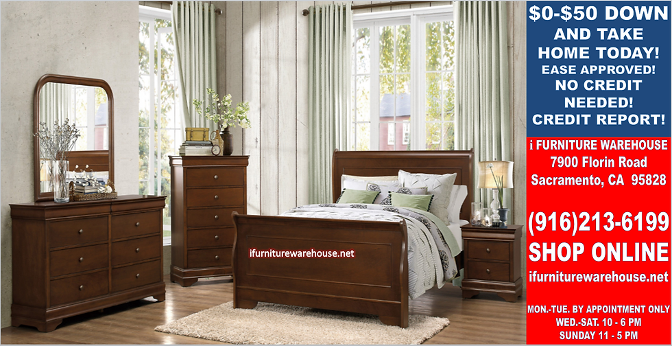 IN STOCK NEW_CHERRY BROWN SLEIGH EASTERN KING BED. KING MATTRESS SET NOT INCL.