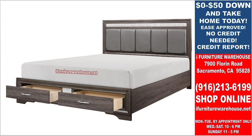 IN STOCK NEW_EASTERN KING BED, GRAY SOLID PLATFORM ONLY.