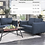 Thumbnail: IN STOCK NEW_2PCS  BLUE SOFA AND LOVESEAT STATIONARY COUCH
