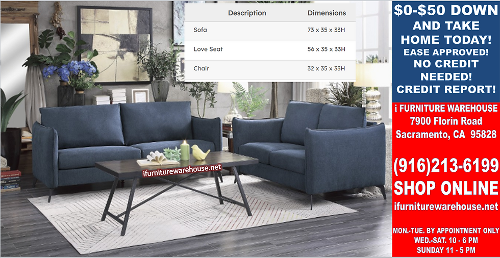 IN STOCK NEW_2PCS  BLUE SOFA AND LOVESEAT STATIONARY COUCH