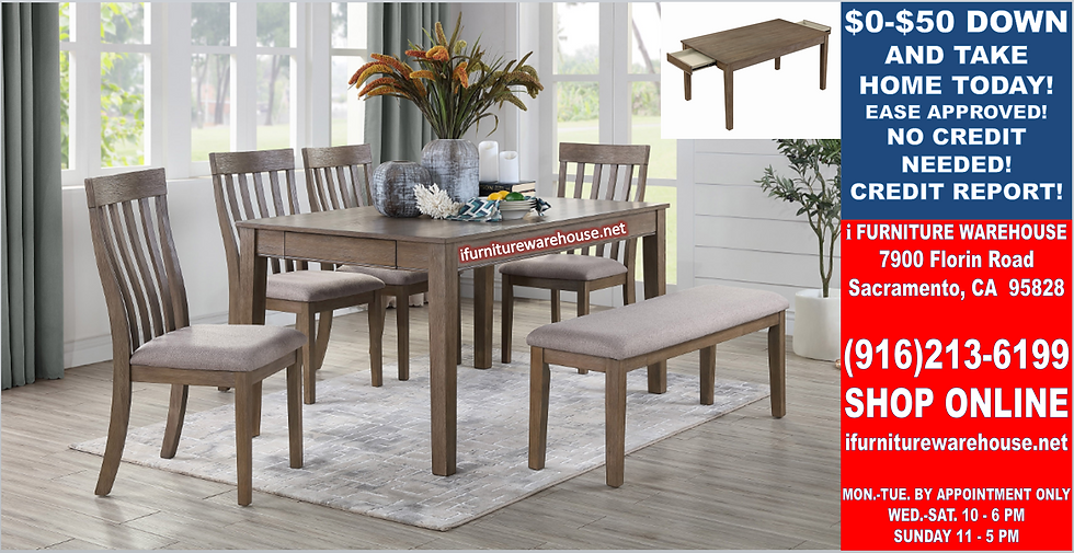 """IN STOCK NEW_6PCS 60x36"""" BROWN WOOD DINING TABLE WITH 4 CHAIRS AND BENCH."""