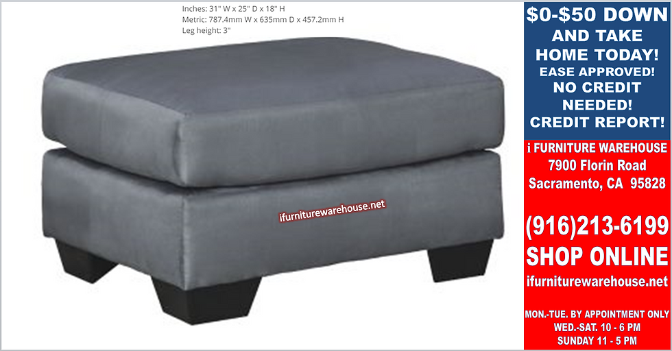 IN STOCK NEW_SMALL STEEL OTTOMAN WITH MICROFIBER FABRIC.