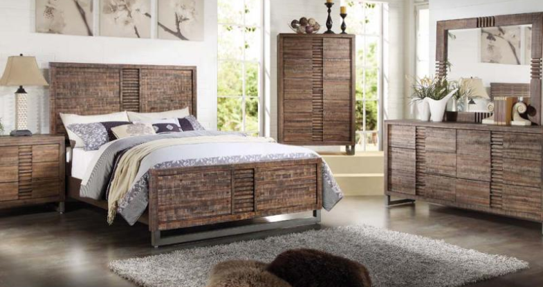 IN STOCK NEW_RECLAIMED OAK CAL KING BED ONLY/ BOX SPRING REQUIRED