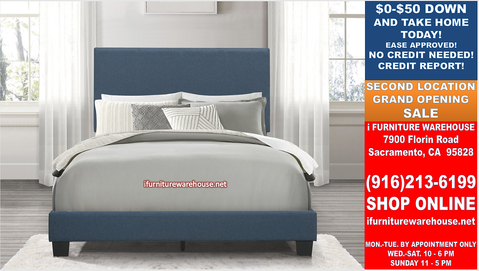 IN STOCK NEW_BLUE LINEN FABRIC QUEEN BED ONLY.  BOX SPRING REQUIRED
