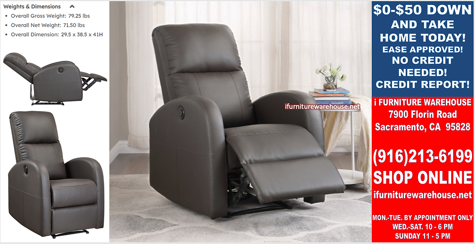 IN STOCK NEW_BROWN CONTEMPORARY POWER RECLINER CHAIR FOR SOFA LIVING ROOM