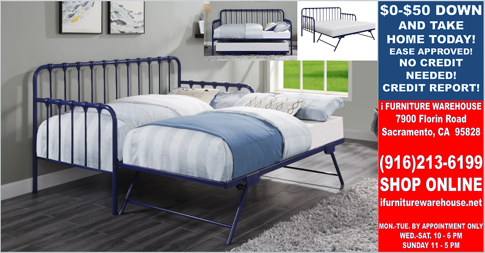 """IN STOCK NEW_TWIN BED, METAL BLUE DAYBED WITH POPUP TRUNDLE """"ALL"""""""