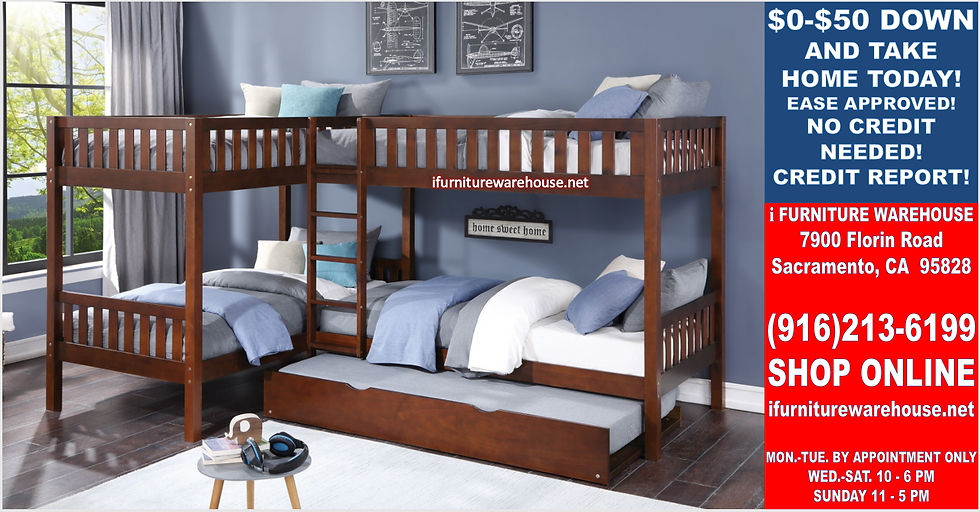 IN STOCK NEW_5 TWIN BED, CHERRY CORNER BUNK BED W/TRUNDLE INCLUDED.