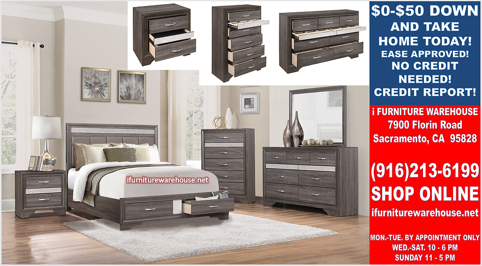 IN STOCK NEW_GRAY JEWELRY DRAWERS EASTERN KING BED, DRESSER, MIRROR, NIGHTSTAND.