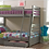 Thumbnail: IN STOCK NEW_GRAY TWIN/FULL BUNK BED WITH DRAWERS.  MATTRESS NOT INCLUDED.