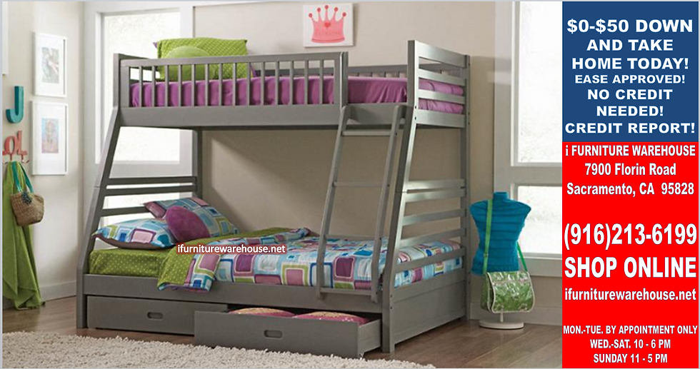 IN STOCK NEW_GRAY TWIN/FULL BUNK BED WITH DRAWERS.  MATTRESS NOT INCLUDED.