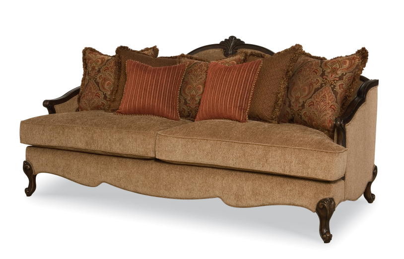 In Stock New_Upholstery Sofa with Solid Wood Carving