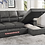 Thumbnail: IN STOCK NEW_2PC  DARK GRAY MICROFIBER RIGHT SECTIONAL SOFA SLEEPER PULL-OUT BED