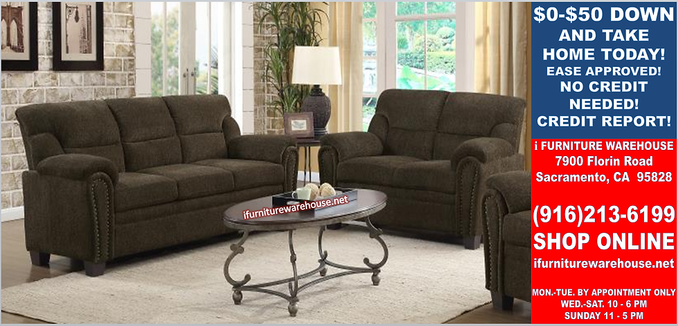IN STOCK NEW_2PCS DARK BROWN NAIL HEAD ACCENT SOFA AND LOVESEAT/ NO SECTI