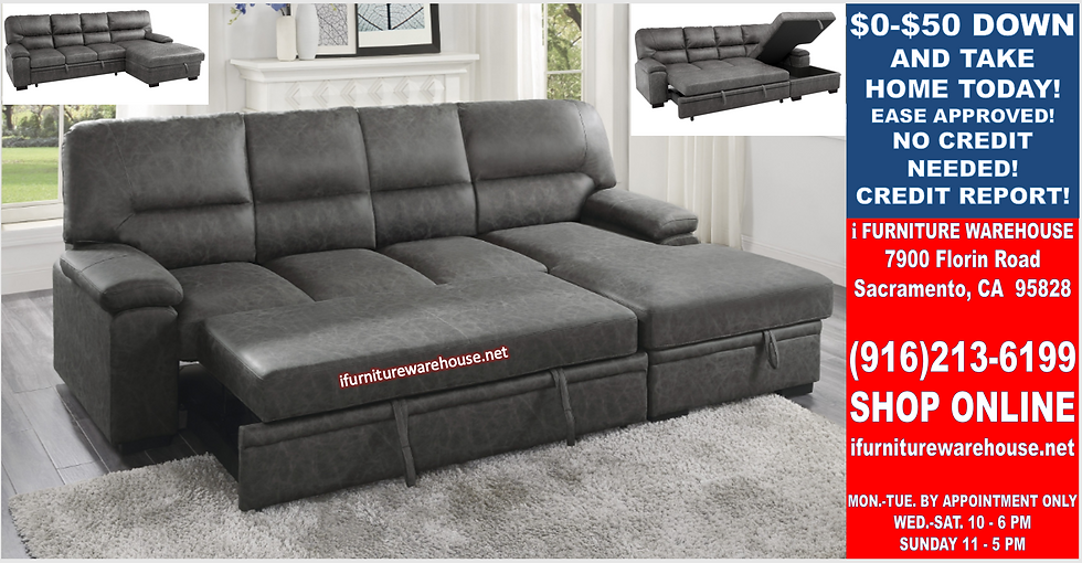 IN STOCK NEW_2PC  DARK GRAY MICROFIBER RIGHT SECTIONAL SOFA SLEEPER PULL-OUT BED
