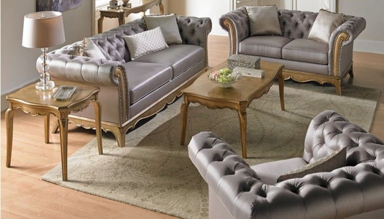 In Stock 5pcs  Sofa, Loveseat,Coffee + 2 End Table