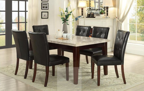 White Real Marble Top Dining Table And Side Chair With Bench - Marble top dining table with bench