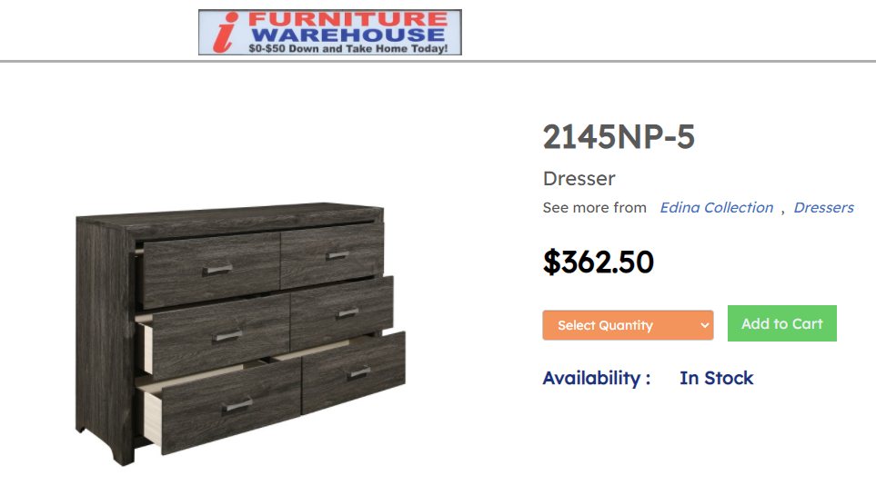 IN STOCK NEW_DARD GRAY MORDERN CONTEMPO DRESSER ONLY