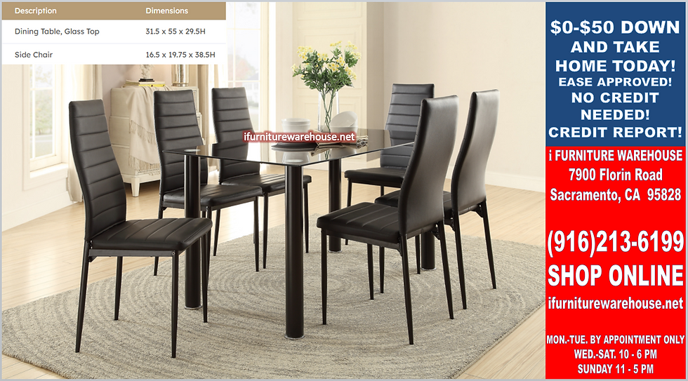IN STOCK NEW_7PCS BLACK CONTEMPO GLASS DINING TABLE AND 6 CHAIRS ALL