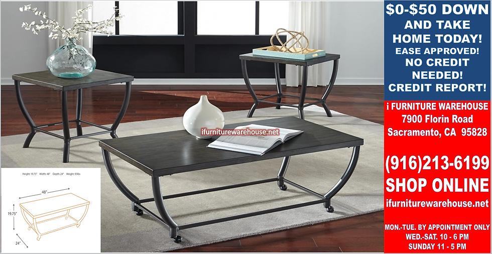 IN STOCK NEW_WOOD TOP GRAYISH BROWN OCCASIONAL COFFEE TABLE AND 2 END TABLE