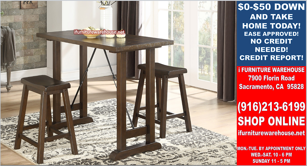 IN STOCK NEW_3PCS RUSTIC BROWN CHERRY DINING TABLE AND 2 WOOD CHAIRS.