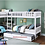 Thumbnail: IN STOCK NEW_5 TWIN BED, WHITE CORNER BUNK BED W/TRUNDLE INCLUDED.