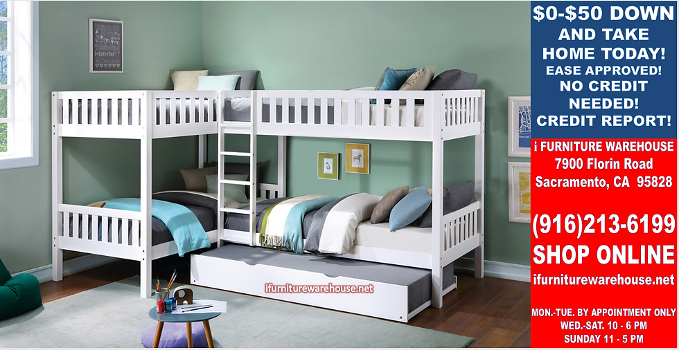 IN STOCK NEW_5 TWIN BED, WHITE CORNER BUNK BED W/TRUNDLE INCLUDED.