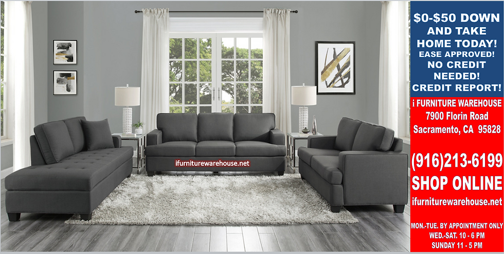 """IN STOCK NEW_2PCS. CHARCOAL FABRIC SOFA AND LOVESEAT """"ALL"""""""
