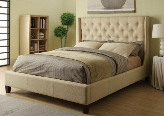 IN STOCK NEW_UPHOLS. BEIGE IN MICROVELVET QUEEN BED ONLY/ BOX SPRING REQUIRED.