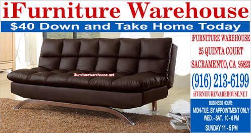 Square Pattern Brown Sofa Bed Sleeper Futon Chaise
