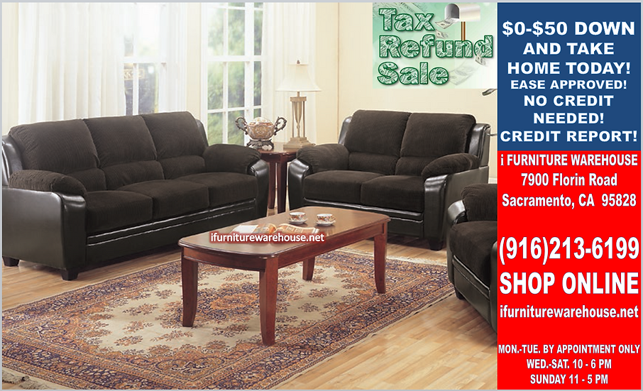 IN STOCK NEW_2PCS UPHOLSTERED CORDUROY CHOCOLATE SOFA AND LOVESEAT.