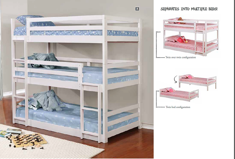 IN STOCK NEW_WHITE TRIPLE TWIN/TWIN/TWIN BUNK BED ONLY.